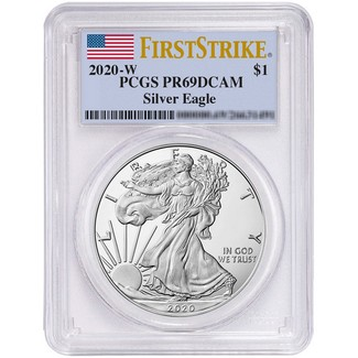 2020 W Proof Silver Eagle PCGS PR69 DCAM First Strike Flag Label