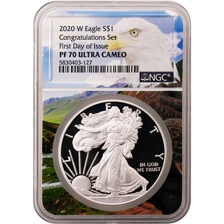 2020 W 'Congratulations Set' Proof Silver Eagle NGC PF70 Ultra Cameo FDI New Eagle Core