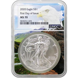2020 Silver Eagle NGC MS70 First Day Issue New Eagle Core