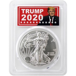 2020 Silver Eagle PCGS MS70 First Day Issue Trump 2020 Label