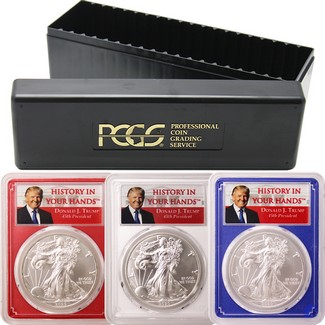 2020 Red,White & Blue Silver Eagles PCGS MS70 Trump History in your Hands Label