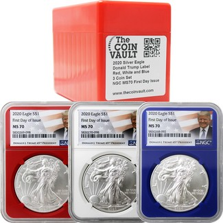 2020 Red, White, & Blue Silver Eagle Set NGC MS70 First Day Issue Trump Label