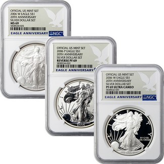 2006 3 Piece Silver Eagle 20th Anniversary Set NGC 69 Eagle Anniversary Label