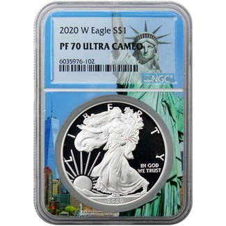 2020 W Proof Silver Eagle NGC PF70 Ultra Cameo Statue of Liberty Core