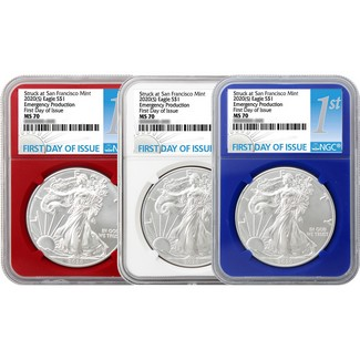 2020 (S) Red, White & Blue Struck at S.F. Silver Eagles 'Em. Production' NGC MS70 FDI 1st Label