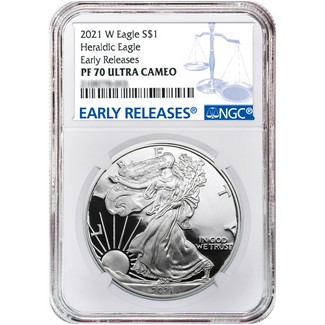 2021 W Heraldic Proof Silver Eagle NGC PF70 Ultra Cameo Early Releases Blue Label