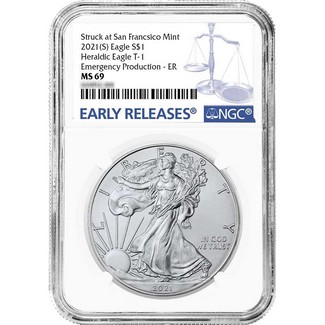 2021 (S) Struck at San Francisco Silver Eagle 'Emergency Production' NGC MS69 ER Blue Label