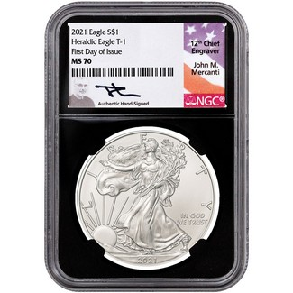2021 Heraldic Silver Eagle NGC MS70 First Day Issue Black Core Mercanti Signed