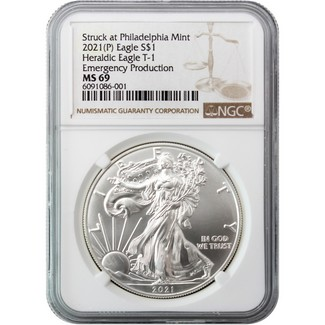 2021 (P) Struck at Philadelphia Silver Eagle 'Emergency Production' NGC MS69 Brown Label