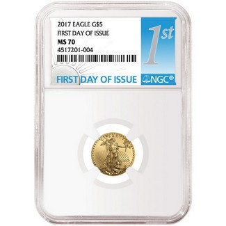 2017 $5 Gold Eagle NGC MS70 First Day Issue Label
