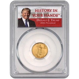 2017 $5 Gold Eagle PCGS MS69 First Strike History in Your Hands Donald Trump Label