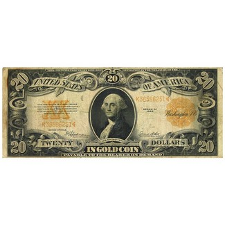 1922 $20 Large Gold Note Very Good or Better