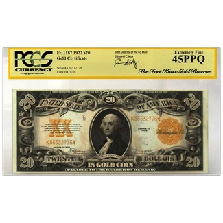 1922 $20 Gold Certificate 'Fort Knox Gold Reserve Hoard' PCGS 45PPQ XF Moy Signed