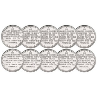 Serenity Prayer 1 Ounce .999 Silver Rounds 10 Count