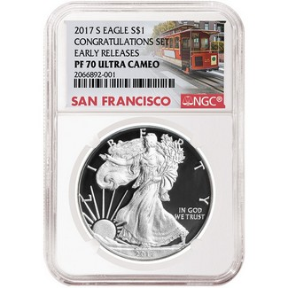 2017 S 'Congratulations Set' Proof Silver Eagle NGC PF70 Early Releases Trolley Label