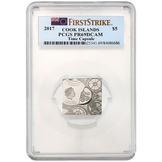 2017 Cook Islands $5 Silver Time Capsule PCGS PR69 First Strike