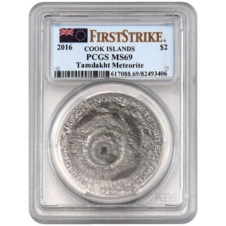 2016 $2 Tamdakht Meteorite Strike Antique Silver Coin PCGS MS69 FS