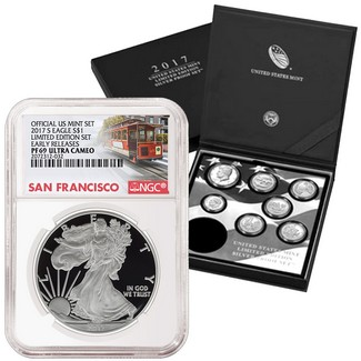 2017 S 'Limited Edition Set' Proof Silver Eagle NGC PF69 ER Trolley Label