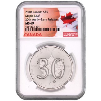 2018 Canada 1oz Silver Maple Leaf NGC MS69 30th Anniversary ER Flag Label