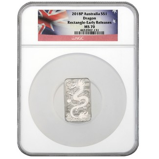2018P Australian Dragon Rectangle Silver 1 oz NGC MS70 ER Flag Label