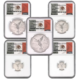 2018 Mexico Silver Onza Libertad 5 Coin Set NGC MS69 ER Flag Label
