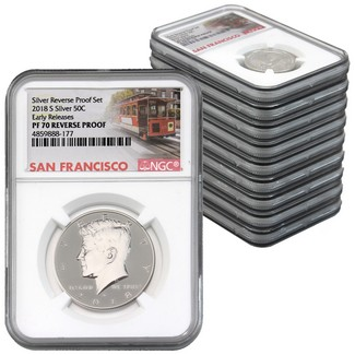 2018 San Francisco Mint Silver Reverse Proof Set NGC PF70 Early Releases Cable Car Label