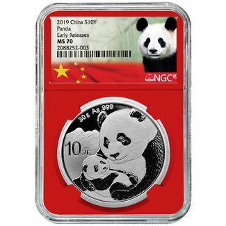 2019 Silver China Panda NGC MS70 Early Releases Red Core Panda Label