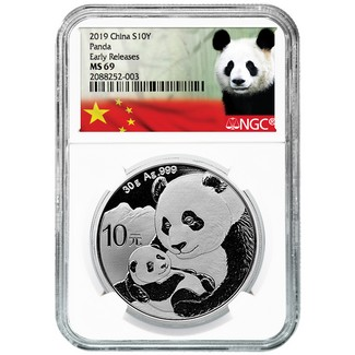 2019 Silver China Panda NGC MS69 Early Releases White Core Panda Label