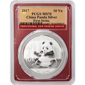 2017 China Panda Silver 1 oz PCGS MS70 First Srike Red Picture Frame
