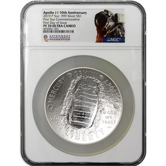 2019 P 50th Anniversary Apollo 11 5oz Proof Silver Dollar NGC PF70 UCAM First Day Issue ASF Label