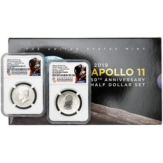 2019 S 50th Anniversary Apollo 11 Clad Half Dollar 2-Coin Set NGC 69 First Day Issue ASF Label