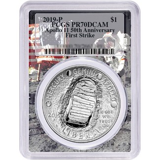 2019 P 50th Anniversary Apollo 11 Proof Silver Dollar PCGS PR70 DCAM First Strike Flag-Moon Frame