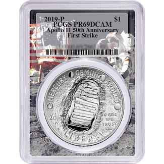 2019 P 50th Anniversary Apollo 11 Proof Silver Dollar PCGS PR69 DCAM First Strike Flag-Moon Frame