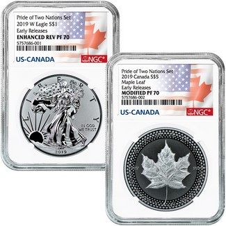 2019 Pride of Two Nations 2-Coin Set NGC 70 Early Releases Dual Flag Label
