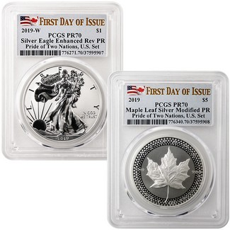 2019 Pride of Two Nations 2-Coin Set PCGS 70 First Day Issue Dual Flag Label