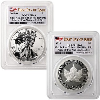 2019 Pride of Two Nations 2-Coin Set PCGS 69 First Day Issue Dual Flag Label