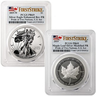 2019 Pride of Two Nations 2-Coin Set PCGS 69 First Strike Dual Flag Label