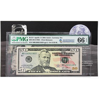 B.E.P Apollo 11 50th  Ann Currency Set $50 2013 FRN PMG 66 Gem Unc FR ASF Label