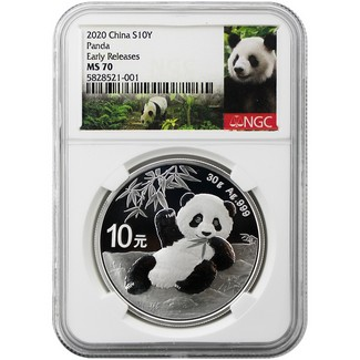 2020 Silver China Panda NGC MS70 Early Releases White Core Panda Label