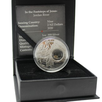 2020 Footsteps of Jesus - 1oz Silver Proof Coin with Stone from The Jordan River