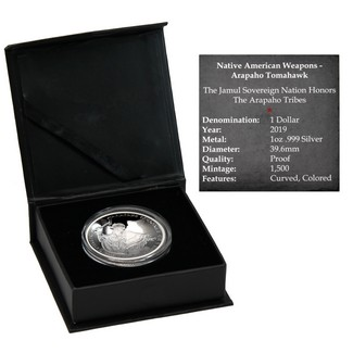 2019 $1 Arapaho Tomahawk 1oz Silver Proof Curved Coin in OGP