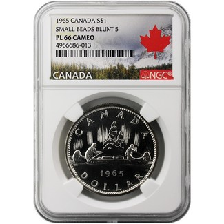 1965 Canadian Silver Dollar Small Beads Blunt 5 NGC PL66 Cameo Canadian SML Label