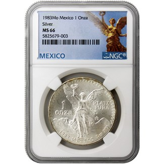 1983 Mexico 1 Onza Silver Libertad NGC MS66 Mexico Label