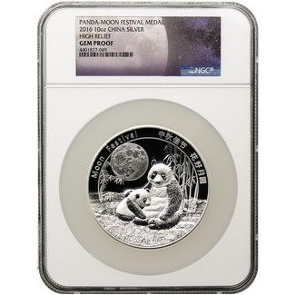 2016 China Panda-Moon Festival Medal 10 oz Silver HR NGC Gem Proof