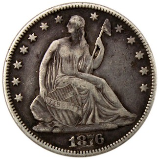 1876 Liberty Seated Half Dollar in Average Circulated Condition