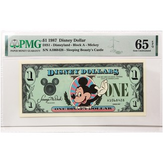 1987 $1 Disney Dollar Mickey Mouse PMG 65 Exceptional Paper Quality