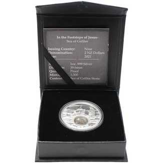 2021 Footsteps of Jesus - 1oz Silver Proof Coin with Stone from The Sea of Galilee