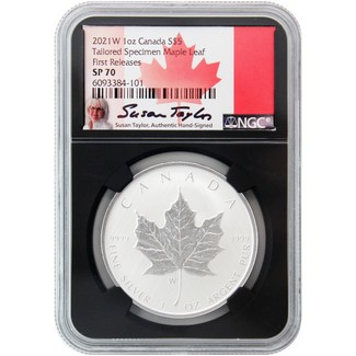 2021 W $5 Canada Tailored Specimen Silver Maple Leaf NGC SP70 FR Black Core Susan Taylor Signed