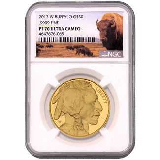 2017 W $50 Proof Gold Buffalo NGC PF70 Ultra Cameo Buffalo Label