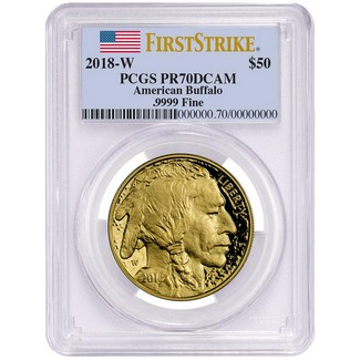 2018 W $50 Proof Gold Buffalo PCGS PR70 DCAM First Strike Flag Label